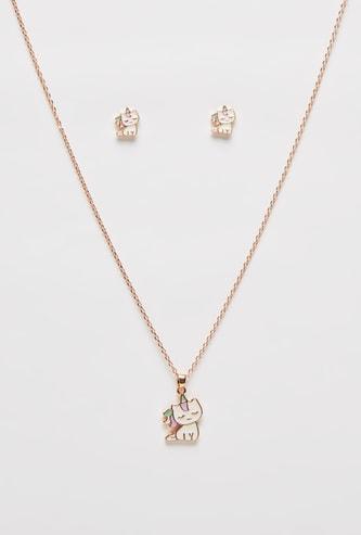 Unicorn Pendant Necklace and Earrings Set