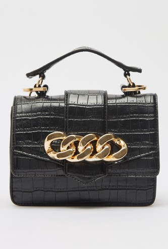 Animal Textured Satchel Bag with Chain link Accent