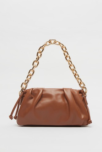 Solid Hand Bag with Chain Link Handle and Zip Closure