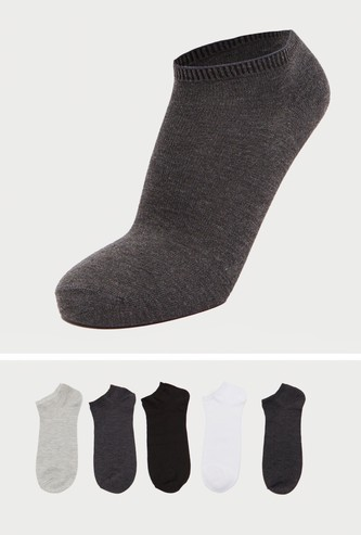 Pack of 5 - Solid Ankle Length Socks with Elasticised Hem