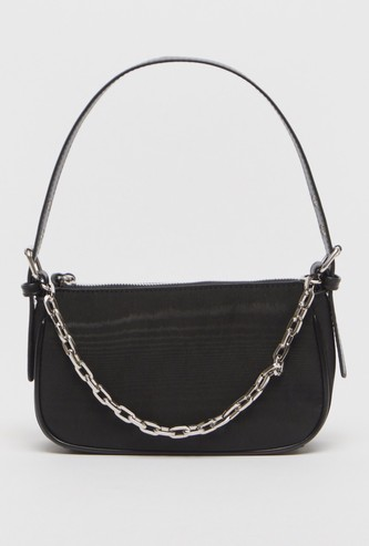 Solid Handbag with Chain Detail and Zip Closure