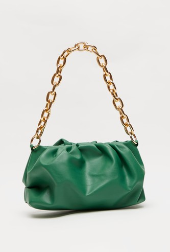 Solid Shoulder Bag with Chain Strap