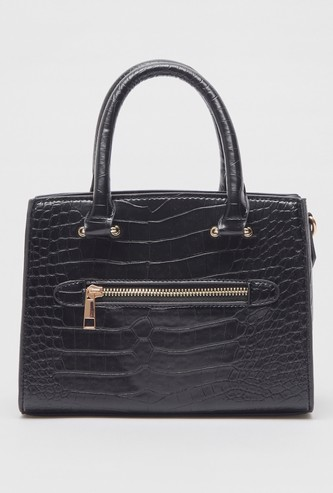 Textured Hand Bag with Zip Closure and Grab Handle
