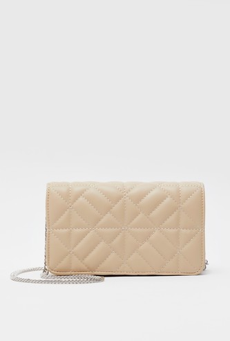 Quilted Crossbody Bag with Flap Closure and Metallic Chain