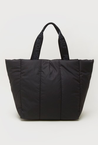 Quilted Tote Bag with Adjustable Strap and Magnetic Snap Button Closure