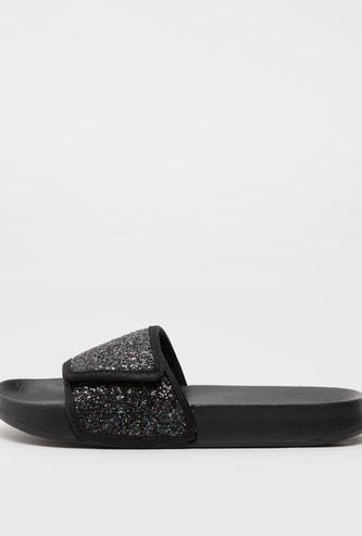 Solid Slides with Embellished Strap