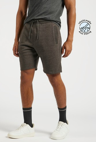 Solid Shorts with Pockets and Elasticised Waistband