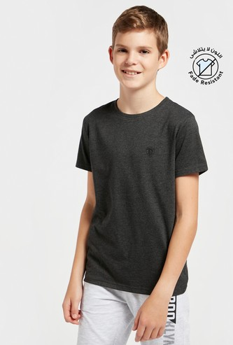 Solid T-shirt with Round Neck and Short Sleeves