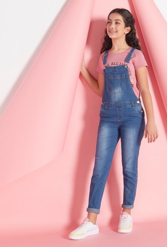Solid Denim Dungarees with Pockets and Hook and Loop Closure