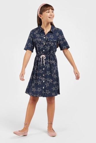 فستان قميص بأكمام قصيرة وأربطة وطبعات