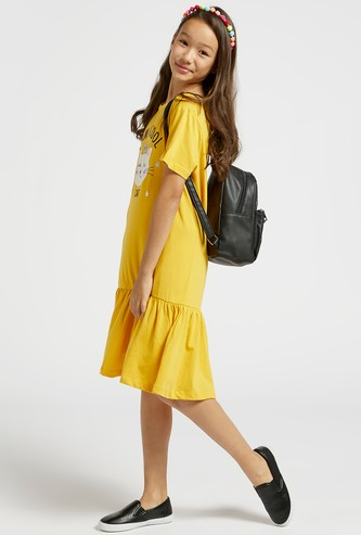 Graphic Print Midi Tiered Dress with Round Neck and Short Sleeves
