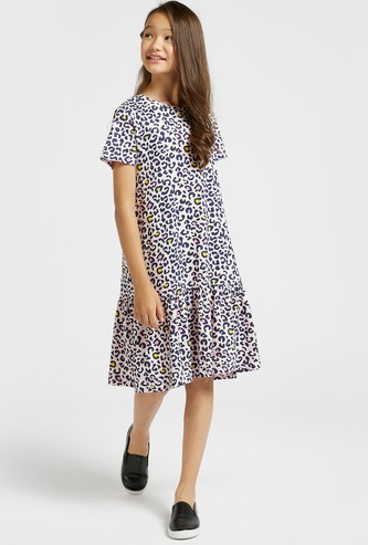 All-Over Animal Print Tiered Dress with Round Neck and Short Sleeves