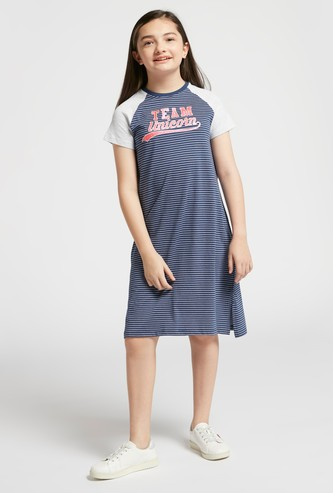 Striped Dress with Round Neck and Raglan Sleeves