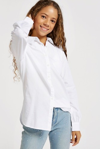 Solid Long Sleeves Shirt with Button Placket