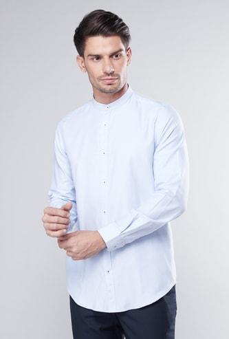 Slim Fit Shirt with Mandarin Collar and Long Sleeves