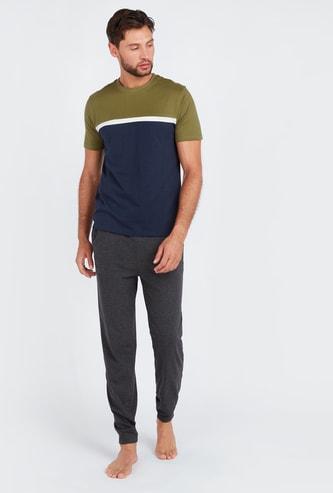 Striped Short Sleeves T-shirt and Pyjamas Set