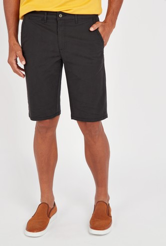 Solid Chino Shorts with Pockets and Button Closure