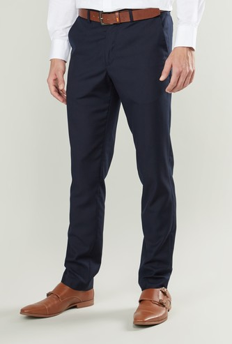 Slim Fit Plain Trousers with Belt Loops and Pocket Detail