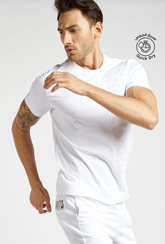 Embossed Text Print T-shirt with Crew Neck and Short Sleeves