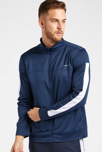 Solid Jacket with Side Mesh Tape Detail Long Sleeves and Zip Closure