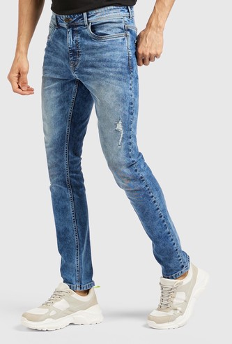 Skinny Fit Jeans with Pockets and Belt Loops