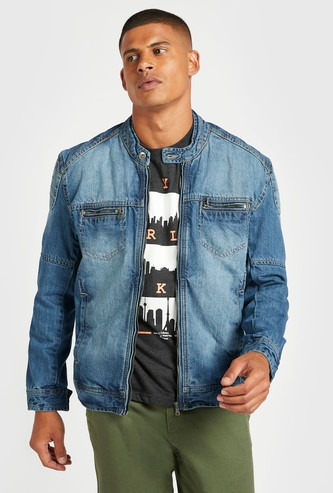 Textured Biker Denim Jacket with Pocket Detail and Long Sleeves