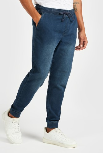 Slim Fit Solid Mid-Rise Denim Jog Pants with Drawstring Closure