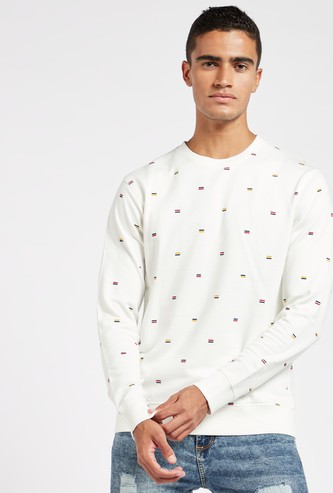 Embroidered Sweatshirt with Crew Neck and Long Sleeves