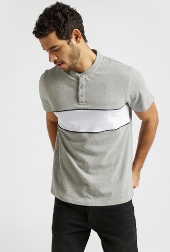 Panel Detail T-shirt with Henley Neck and Short Sleeves