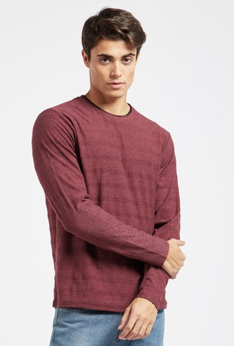 Textured Jacquard T-shirt with Crew Neck and Long Sleeves