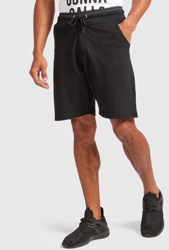 Solid Shorts with Drawstring Closure and Tipped Rib