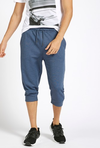 Solid Mid-Rise Joggers with Drawstring Closure and Pockets