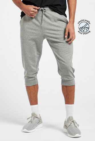 Slim Fit Solid Capris with Pockets and Drawstring