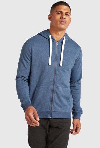 Solid Zip Through Hoodie with Long Sleeves
