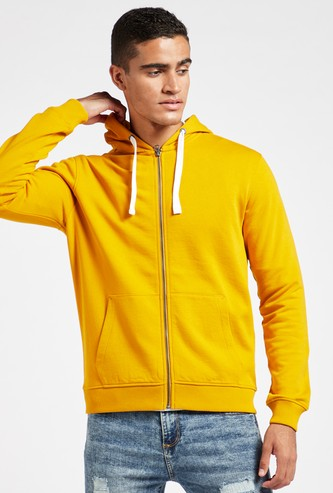 Solid Hoodie with Long Sleeves and Pocket Detail