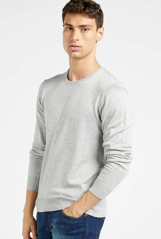 Solid Sweater with Crew Neck and Long Sleeves