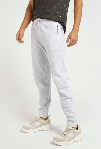 Textured Mid-Rise Cuffed Joggers with Drawstring Closure