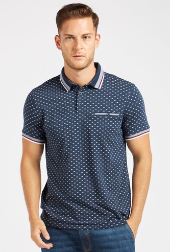 Printed Polo T-shirt with Collar and Short Sleeves