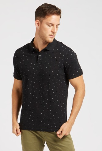 Ditsy Print Polo T-shirt with Short Sleeves