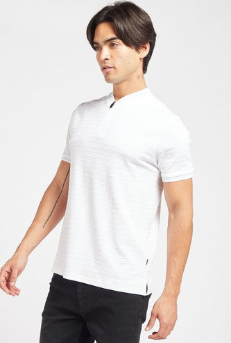 Textured Striped T-shirt with Henley Neck and Short Sleeves