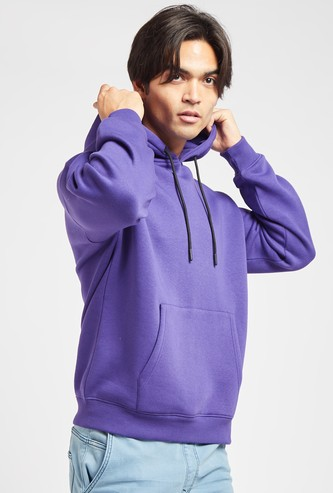 Solid Hoodie with Long Sleeves and Kangaroo Pockets