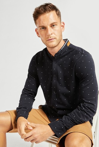 Printed Regular Fit Mandarin Collared Shirt with Long Sleeves