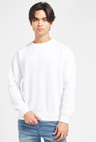 Solid Knit Round Neck Sweatshirt with Long Sleeves