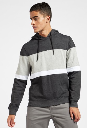 Striped Hoodie with Long Sleeves and Cord Detail