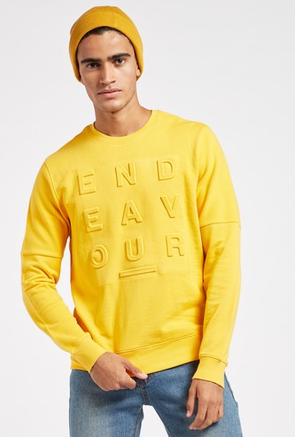 Embossed Sweatshirt with Crew Neck and Long Sleeves