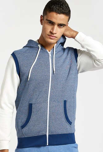 Textured Sleeveless Hoodie with Zipper and Pockets