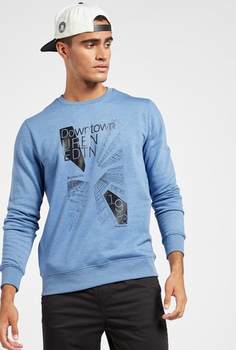 Graphic Print Sweatshirt with Crew Neck and Long Sleeves