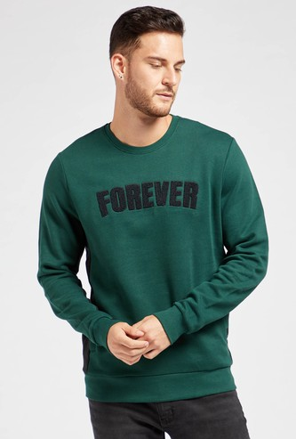 Embroidered Text Detail Sweatshirt with Crew Neck and Long Sleeves