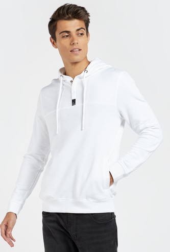 Solid Hoodie with Long Sleeves and Button Closure