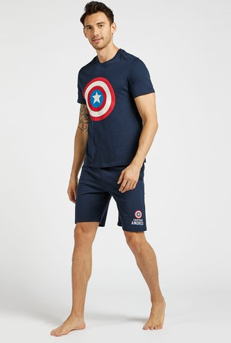 Captain America Print Round Neck T-shirt and Shorts Set